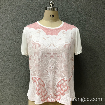 Women's cotton round neck printed knitted top